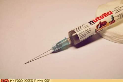 chocolate,drug,inject,needle,nutella,syringe