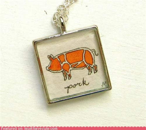 accessories,diagram,drawing,Jewelry,necklace,pig,pork