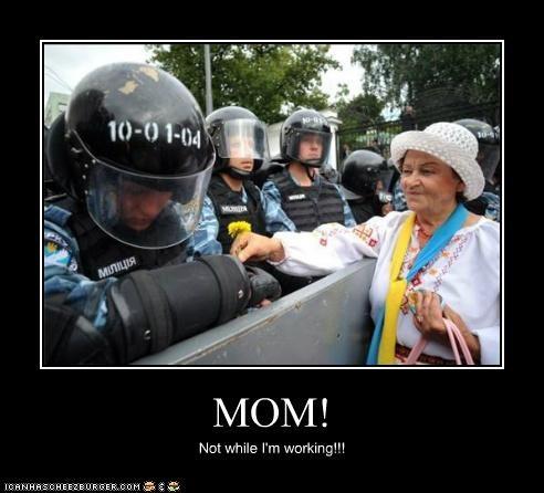 embarrassed,flowers,mom,parents,Pundit Kitchen,riot gear,riot police,riots,work,working