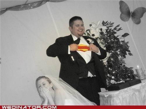 bride,costume,funny wedding photos,groom,Hall of Fame,superman
