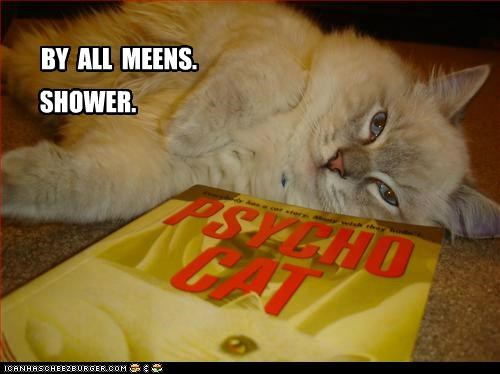 book,by all means,caption,captioned,cat,invitation,please,psycho,reference,shower