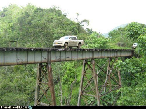 bridge,cars,dangerous,driving,tax dollars at work