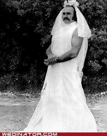 funny wedding photos,sean connery,wedding dress
