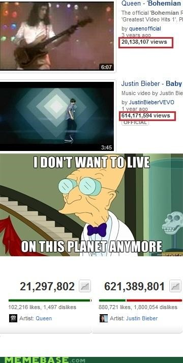 i dont want to live on this planet anymore,justin bieber,queen,views,youtube