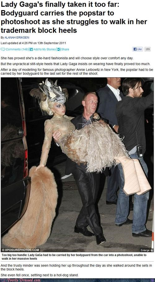 falling down,gaga watch,lady gaga,news,platform shoes,shoes,walking