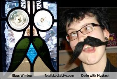 Glass Window Totally Looks Like Dude with Mustach