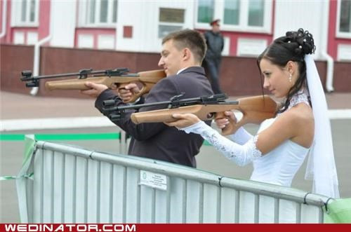 bride,funny wedding photos,groom,guns