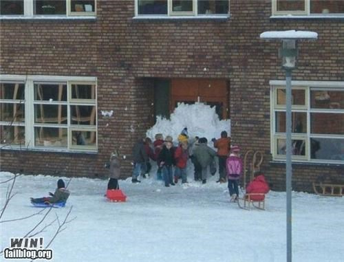 back to school,barricade,kid,prank,school,snow,wall,winter
