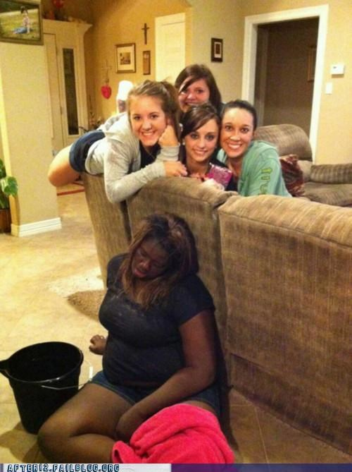 bucket,drunk,group photo,not sure if,passed out,pose,racist