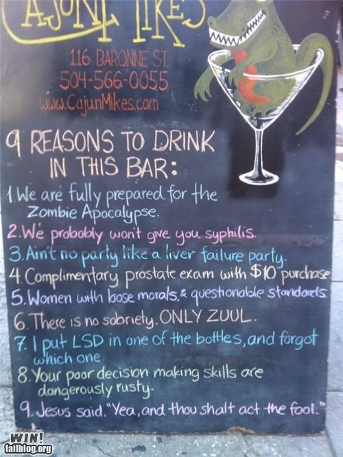bar,business,drinking,enticing,free stuff,Party,pop culture,sign,zombie apocalypse