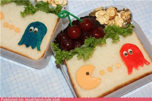 bento,epicute,fruit,lunch,meal,pac man,sandwiches