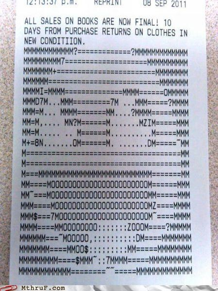 ASCII,ascii art,receipt,smiley face