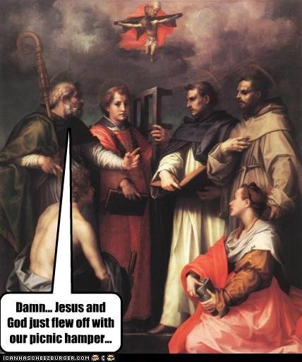 damn,food,god,historic lols,jesus,paintings,picnics,religious