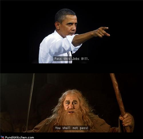 barack obama,gandalf,jobs,jobs bill,john boehner,Lord of the Rings,political pictures