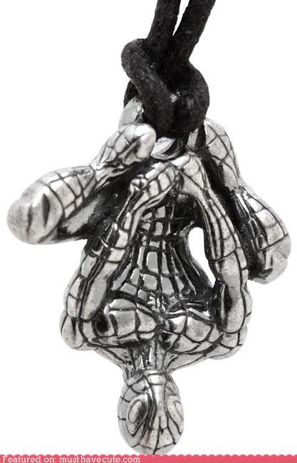 accessories,Jewelry,necklace,pendant,silver,Spider-Man,upside down