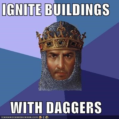 age of empires,buildings,daggers,fire,ignition,video games
