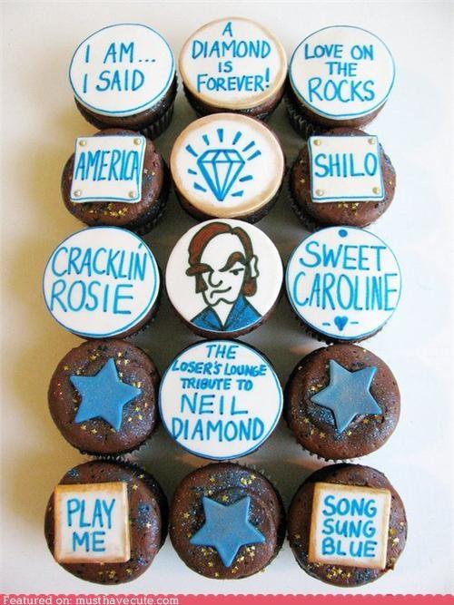 chocolate,cupcakes,decorated,epicute,neil diamond