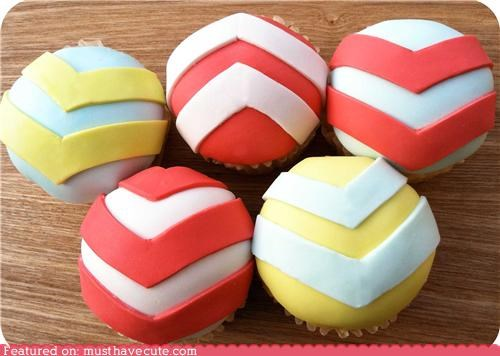 chevron,cupcakes,epicute,fondant,stripes