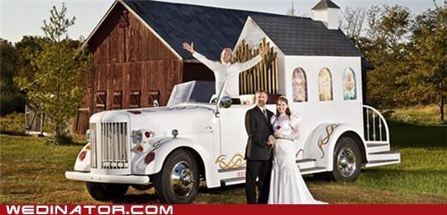 cars,funny wedding photos,mobile wedding chapel