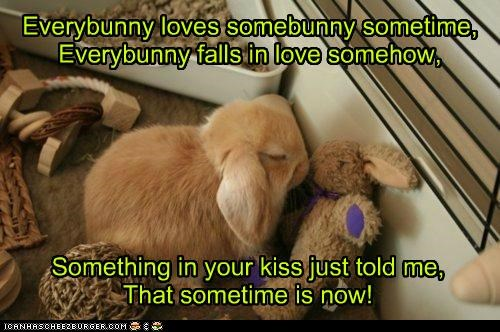 Everybunny loves somebunny sometime, Everybunny falls in love somehow,