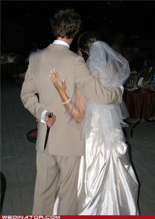 bride,funny wedding photos,groom,knife