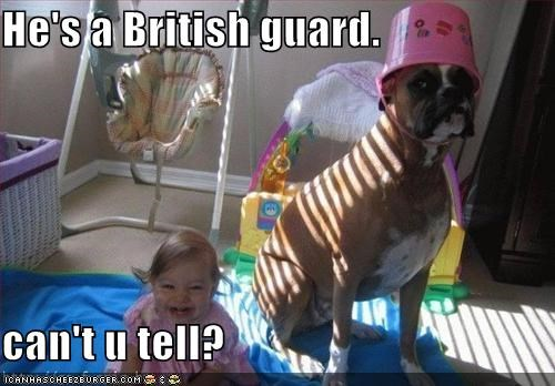 He's a British guard.  can't u tell?