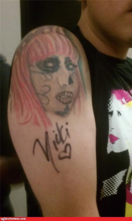 horrifiying,music tattoos,musicians,nicki minaj