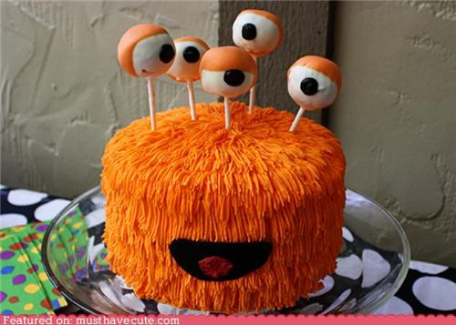 cake,cake pops,epicute,eyes,frosting,monste,orange,sticks