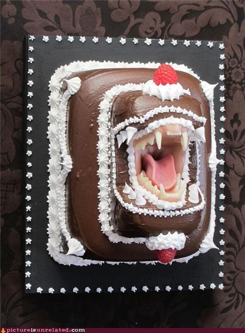 bite,cake,eww,teeth,wtf