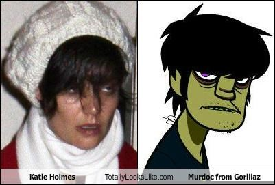 Katie Holmes Totally Looks Like Murdoc from Gorillaz
