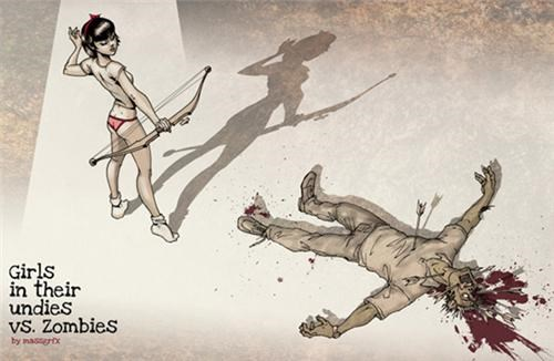 Girls in their Undies vs. Zombies of the Day