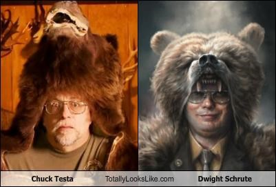 bear,Chuck Testa,comedy,commercial,dwight shrute,taxidermy,television show,the office