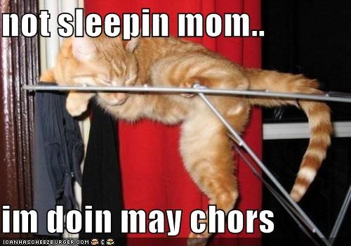 not sleepin mom..  im doin may chors