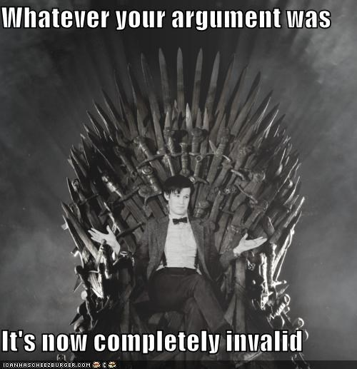 doctor who,Matt Smith,swords,throne,your argument is invalid