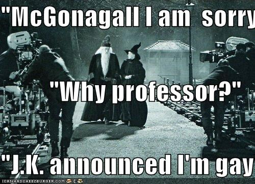 """McGonagall I am  sorry"" ""Why professor?"" ""J.K. announced I'm gay"""
