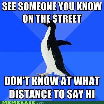 animemes,distance,friends,hi,passive,socially awkward penguin,street,walking