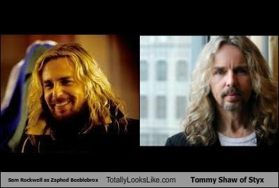 Sam Rockwell as Zaphod Beeblebrox Totally Looks Like Tommy Shaw of Styx