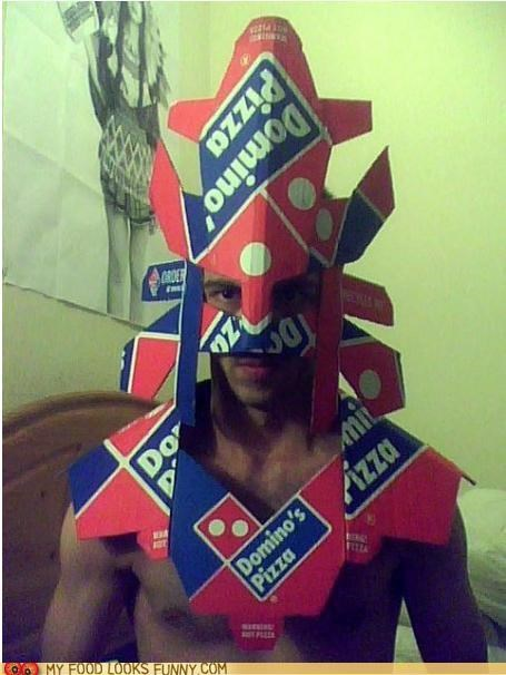 armor,best of the week,box,cardboard,costume,dominos,pizza