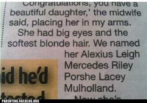 baby names,car puns,cars,newspaper
