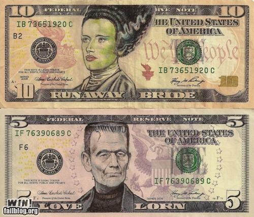 bills,currency,dollar bill,frankenstein,hacked,hacked irl,halloween,money