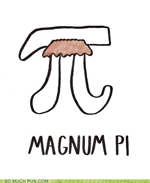 abbreviation,double meaning,Hall of Fame,iconic,literalism,look,magnum pi,mustache,pi,symbol