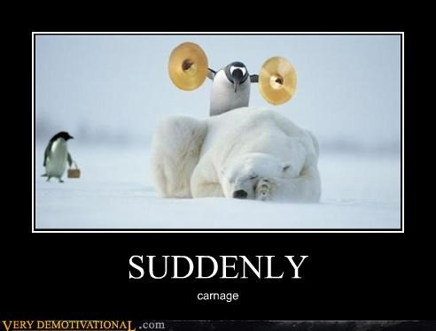 bad idea,carnage,hilarious,penguin,polar bear,suddenly