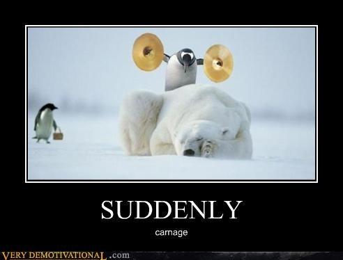 bad idea,carnage,hilarious,penguin,polar bear,suddenly
