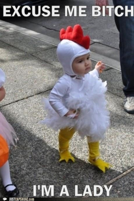Babies,chickens,costume,excuse me,kids,ladylike,roosters,sassy