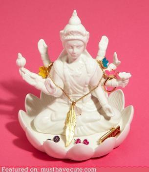 ceramic,dish,Jewelry,lakshmi,rings,statue