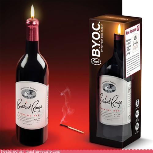 bottle,candle,decor,fake,illusion,wine