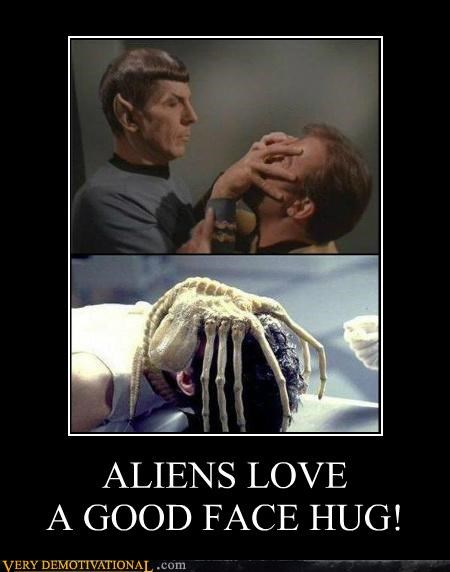 ALIENS LOVEA GOOD FACE HUG!