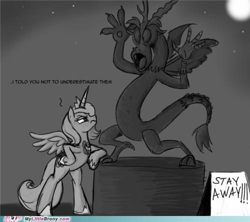 discord,join forces,luna,ponies,stay away,told you,underestimate