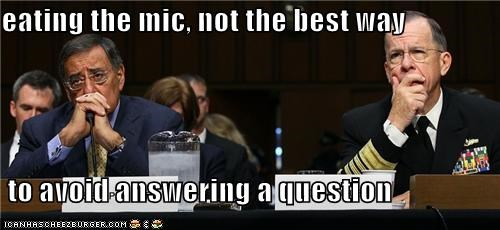 eating the mic, not the best way   to avoid answering a question