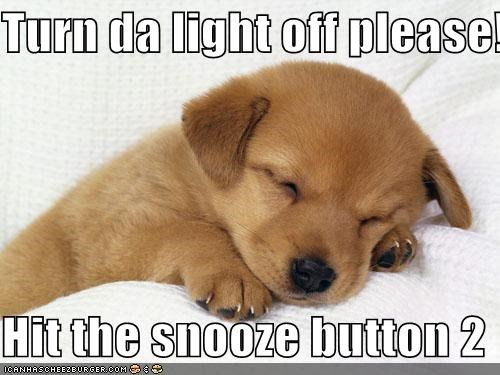 Turn da light off please!  Hit the snooze button 2